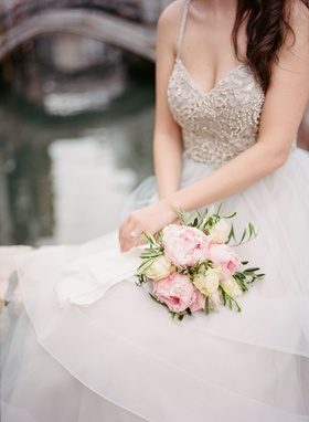 Wedding bouquet for destination elopement hayley paige dress pink peony flower and ivory rose