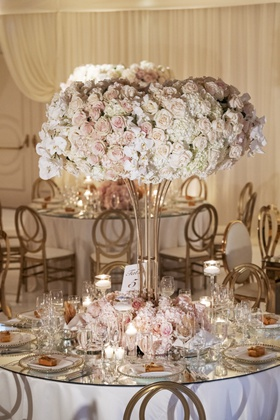 wedding reception round table mirror top tall centerpiece pink white rose hydrangea orchid