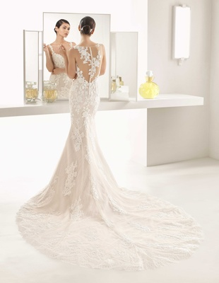 Rosa Clara Bridal Oboe wedding dress mermaid gown illusion back lace details buttons up back