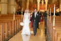 Bride in a Pnina Tornai dress, groom in morning coat at Cathedral Basilica of the Sacred Heart