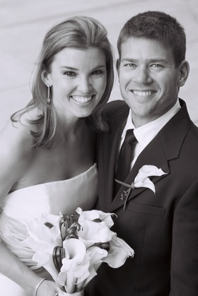 Black and white photo of husband and wife