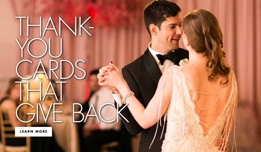Thank you cards that give back wedding thank you note and stationery ideas paper culture