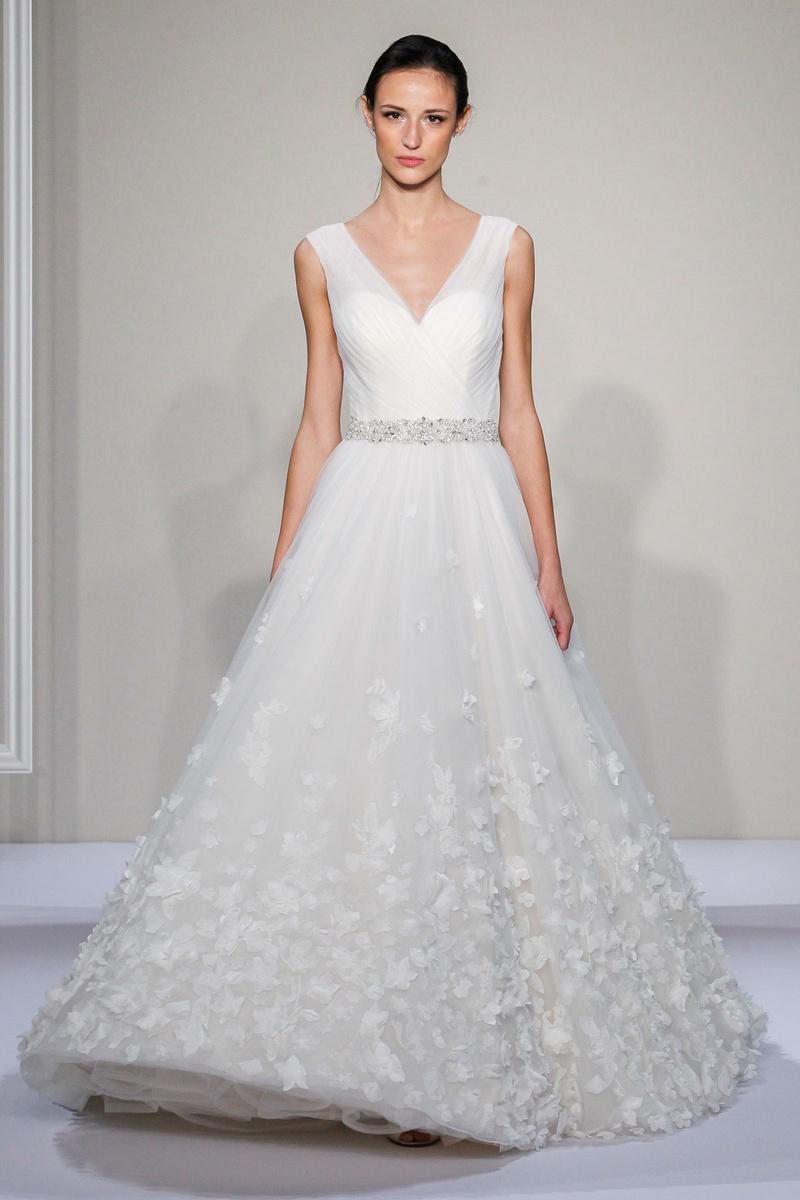 Dennis Basso 2016 v-neck a-line wedding dress with flower appliques