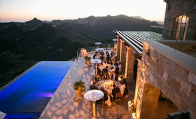 leaf pattern projected lighting at malibu rocky oaks wedding reception by infinity pool