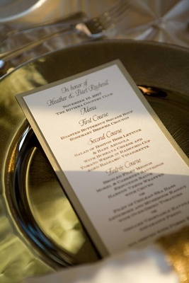 Simple menu cards with gold border