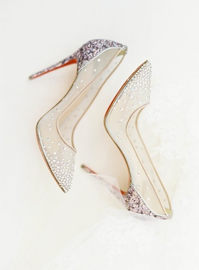 Wedding shoes sheer bridal high heels red soles Christian Louboutin pumps sheer