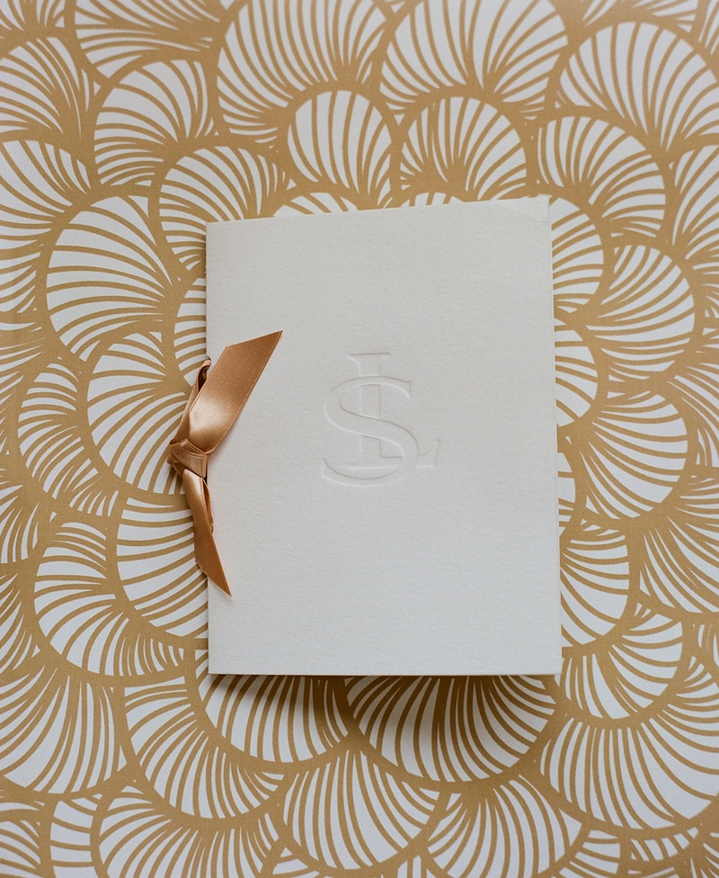Letterpress monogram wedding ceremony program