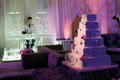 Wedding cake with crystal monogram cake topper