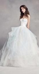 WHITE by Vera Wang fall 2016 ombre light blue tulle ball gown wedding dress full skirt strapless