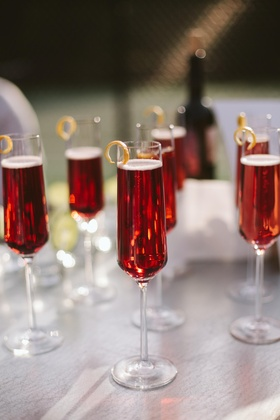 Signature cocktails in champagne flutes with rind