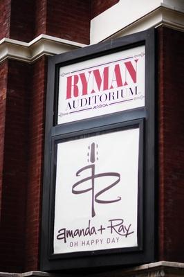 Wedding logo on side of Ryman Auditorium building