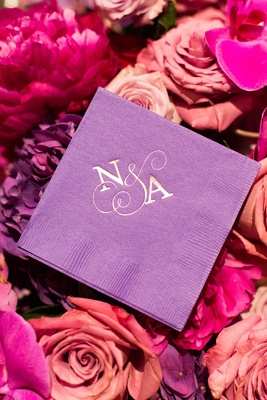 purple wedding napkins monogram pink and purple flowers roses hydrangeas N A