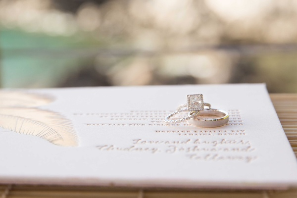 Princess cut engagement ring with square halo diamond wedding band men's band on invitation feather