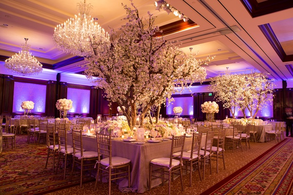 Elegant White + Lavender Ballroom Wedding with Cherry Blossom Trees ...