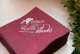 burgundy cocktail napkin for equestrian themed bridal shower