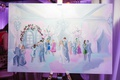 live event painting of dance floor at wedding reception