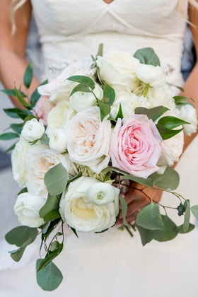 soft bridal bouquet with blush and ivory garden roses, eucalyptus leaves