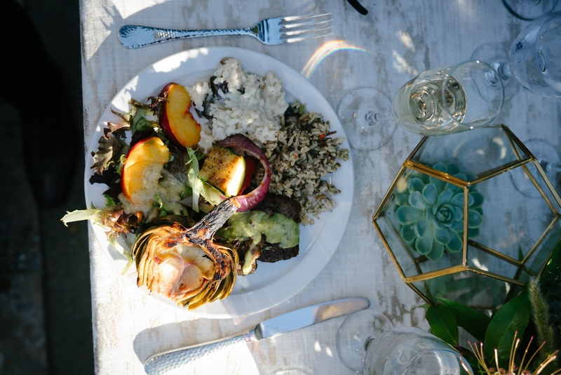 wedding salad with peaches, artichokes, onions, rice, local produce to central california