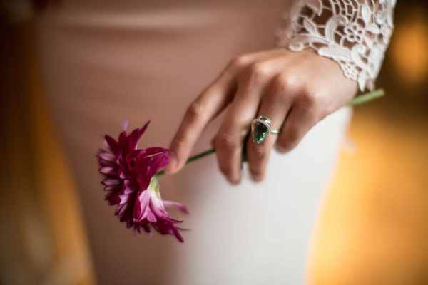 brides silver green ring wedding styled shoot vintage new york jewelry accent piece