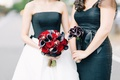 Midnight calla lily bridesmaid bouquet and black and red wedding bouquet