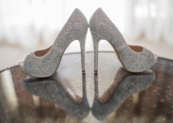 lauren lorraine peep toe pumps with strassed crystals