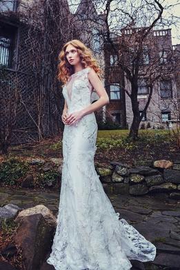 Sareh Nouri Spring 2018 bridal collection Carnegie wedding dress v neck trumpet dress