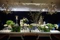 Wedding reception chicago wedding long escort card table cherry blossom blue white chinoiserie vases