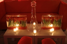 Red lounge area centerpiece with underwater tulip centerpiece