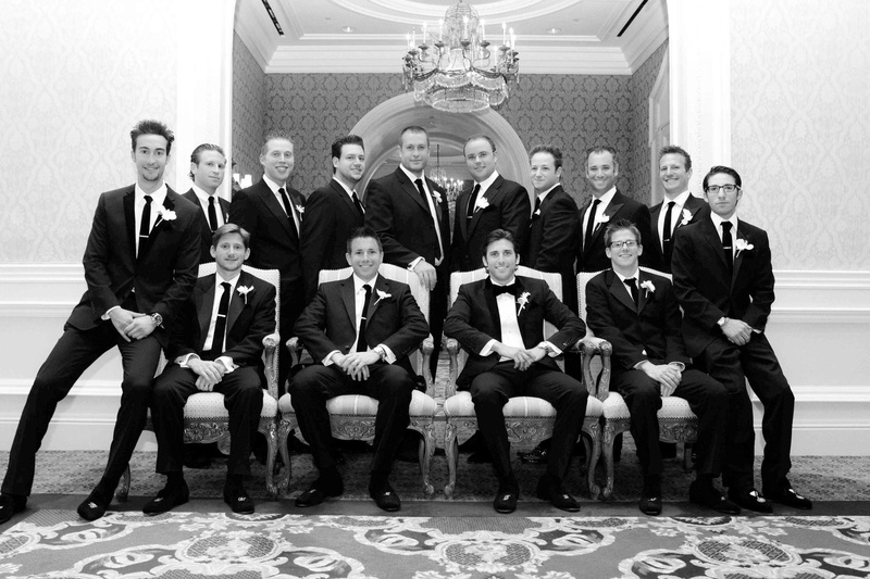 Black and white photo of groomsmen in thrones
