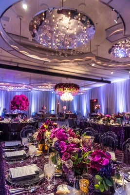 classy las vegas wedding reception, purple color scheme wedding