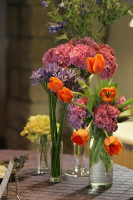Flower display on guest book table