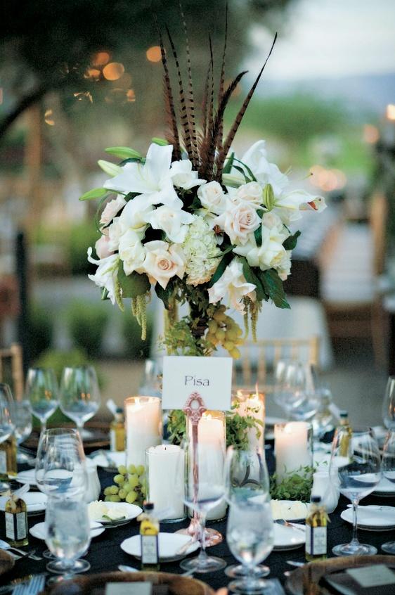 Reception Décor Photos - Fruit & Feather Flower Centerpiece - Inside ...