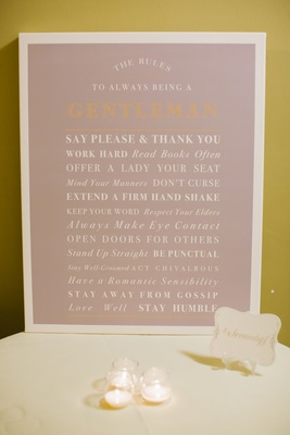Rules of being a gentleman displayed on card