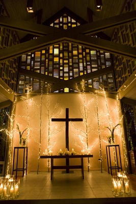Aspen Chapel stained glass and twinkling lights