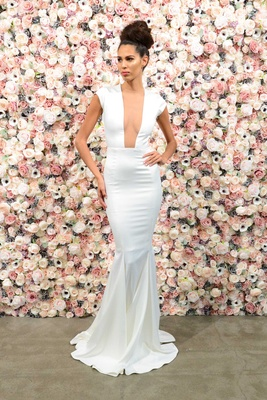 Michael Costello spring summer 2018 bridal couture collection cap sleeve crepe dress plunging neck