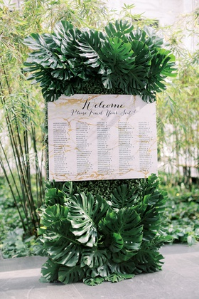 monstera leaves tropical decor seating chart marble design inspired by invitations