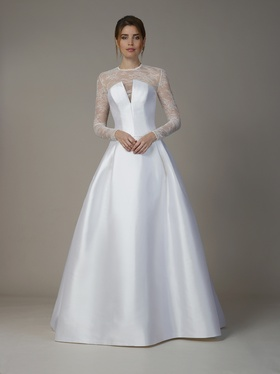 Liancarlo Fall 2018 bridal collection lace high neck long sleeve a-line gown