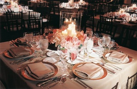 Tablescape with low centerpiece and candles