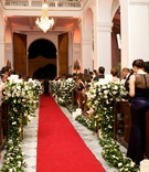 red carpet style aisle in Catedral Basílica de Santa Marta in Colombia Francesca Miranda daughter