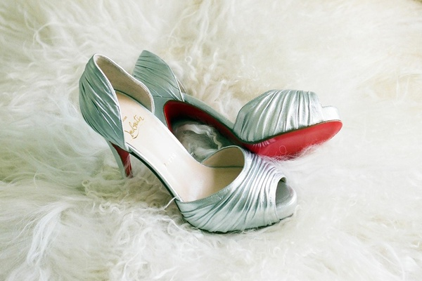 Christian Louboutin crinkled metallic shoes