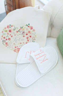 Wedding party bridal bridesmaid gift ideas monogram slippers in custom tote bag with heart motif