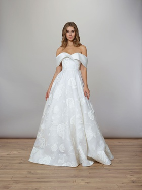 Liancarlo Spring 2020 bridal collection wedding dress off shoulder ball gown hand painted rose
