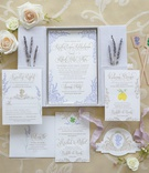 elaborate lavender invitation suite, boxed invitation suite