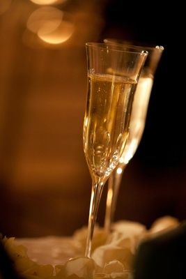 Bubbling champagne in antique-style glasses