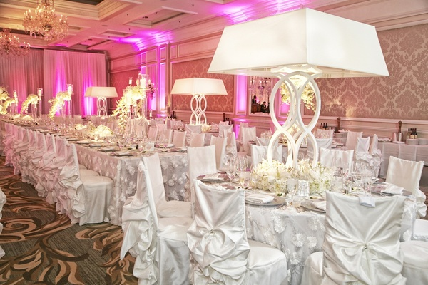 Chicago ballroom filled with white slipcovers
