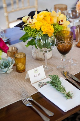 rosemary, amber cups, rustic reception colored glassware yellow centerpiece