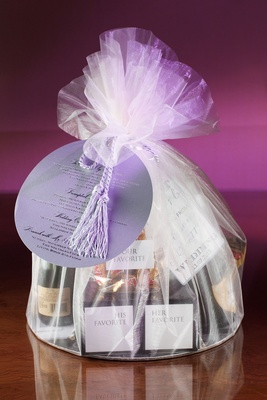Wedding gift ideas favor bag welcome filled with bride and groom's favorite items and champagne