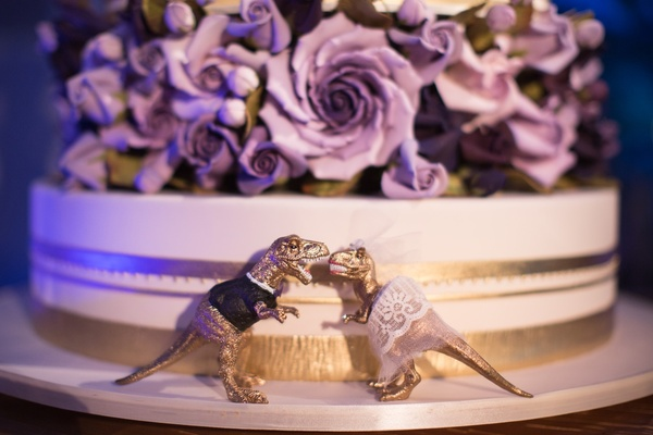 Unique gold dinosaur cake toppers