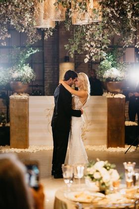 former miss america savvy shields wedding reception first dance garden inspired decor setting brick