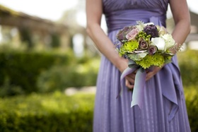 Green mum, purple artichoke, wedding bouquet